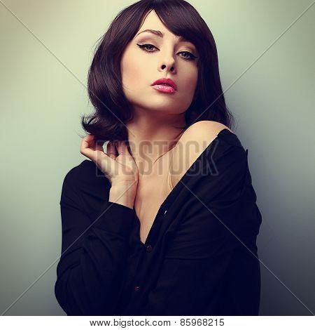 Glamour Makeup Woman Touching Short Hair. Vintage Art Color Portrait
