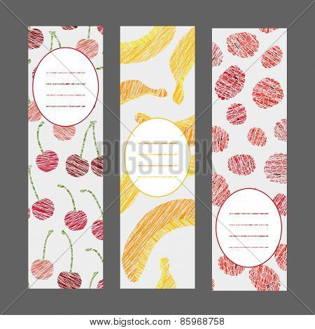 Set of Vertical Fruit Banners. Harvest berry ornament. Vector Illustration.
