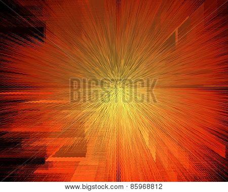 Beautiful Orange Sunburst Heat Wave Absreact Background