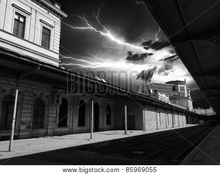 Lightning over the railway station