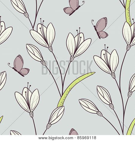 Stylized Seamless Pattern With Flowers And Butterfly