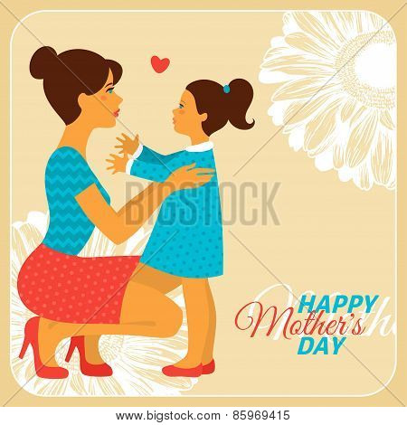 Mother and Daughter with Happy Mothers Day Congratulation