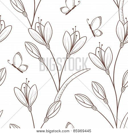 Sketchy Seamless Pattern With Flowers And Butterfly