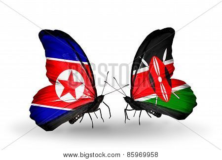 Two Butterflies With Flags On Wings As Symbol Of Relations North Korea And  Kenya