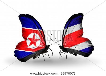 Two Butterflies With Flags On Wings As Symbol Of Relations North Korea And  Costa Rica