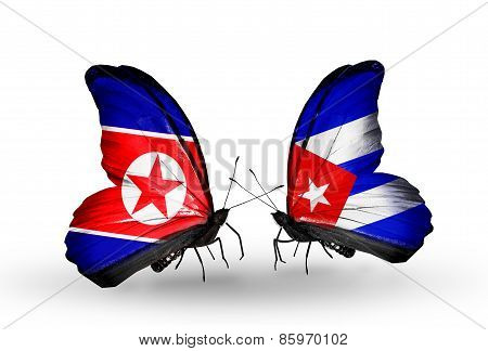 Two Butterflies With Flags On Wings As Symbol Of Relations North Korea And  Cuba