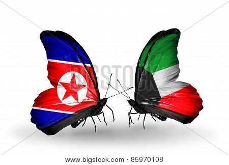 Two Butterflies With Flags On Wings As Symbol Of Relations North Korea And  Kuwait