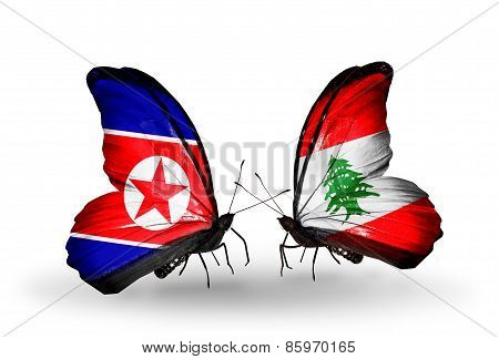 Two Butterflies With Flags On Wings As Symbol Of Relations North Korea And  Lebanon