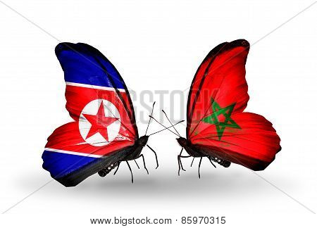 Two Butterflies With Flags On Wings As Symbol Of Relations North Korea And  Morocco