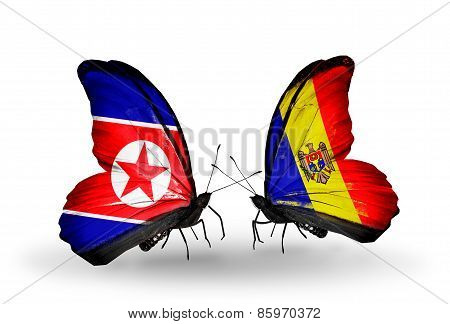 Two Butterflies With Flags On Wings As Symbol Of Relations North Korea And  Moldova