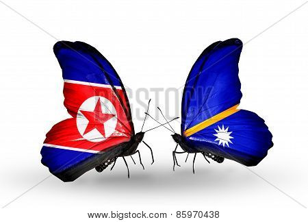 Two Butterflies With Flags On Wings As Symbol Of Relations North Korea And  Nauru