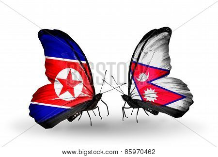 Two Butterflies With Flags On Wings As Symbol Of Relations North Korea And  Nepal