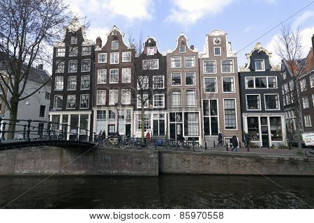Canal The Brouwersgracht In Amsterdam With Houses