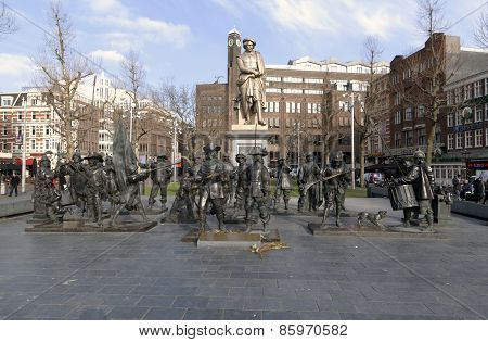 Statue Of Rembrandt And The Night Watch