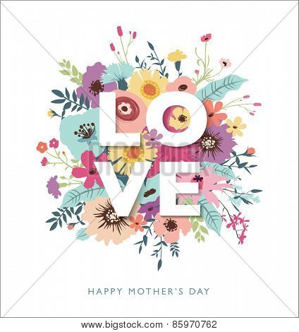 LOVE typography with flowers background