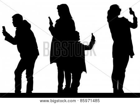 Man and women with camera on white background