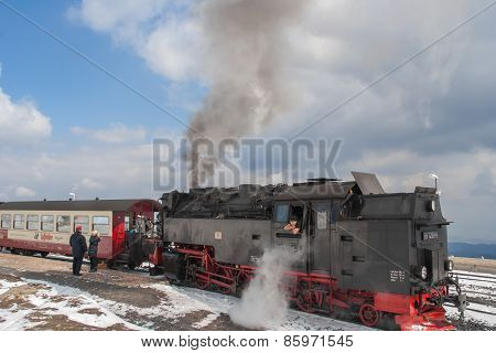 Passengers Boarding The Historic Steam Train In The Harz