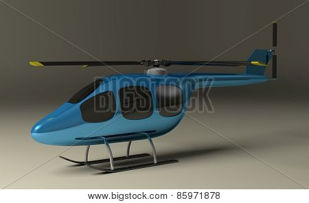 Blue Helicopter On Gray