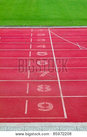 Starting line of Running lane in sport stadium