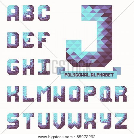 Full Polygonal Triangular Alphabet. Trendy Typeset In Vector