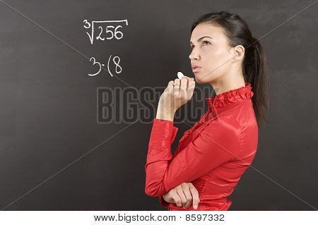 Thinking Student In Red