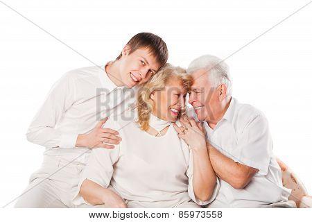 Happy smiling family. Isolated on white background.