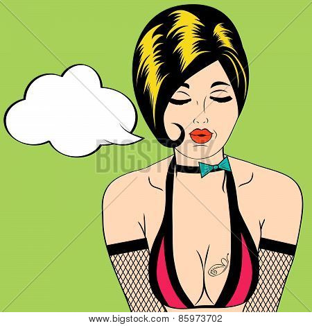Sexy Horny Woman In Comic Style, Xxx Illustration