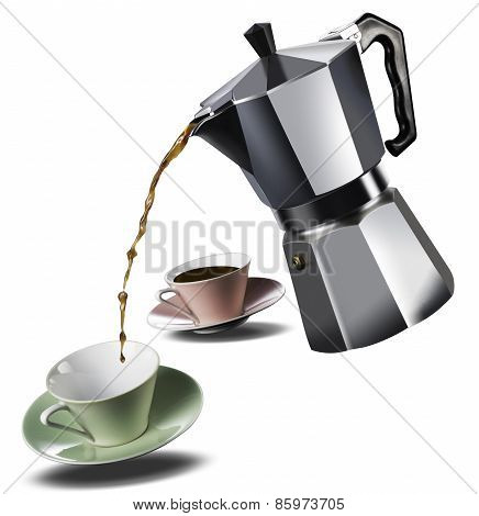Italian Coffee Maker And Two Coffee Cups