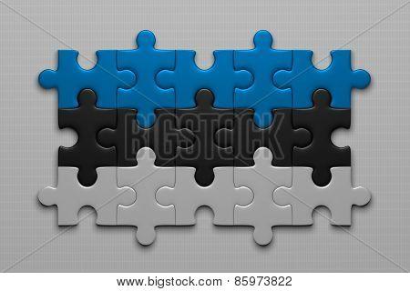 Estonian Flag Of Puzzle Pieces