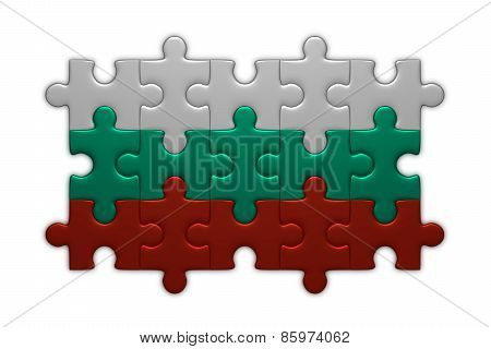 Bulgarian Flag Of Puzzle Pieces