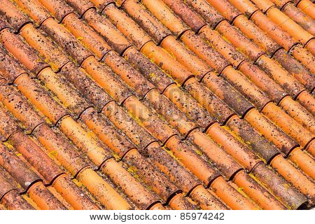 Old and dirty red roof tiles