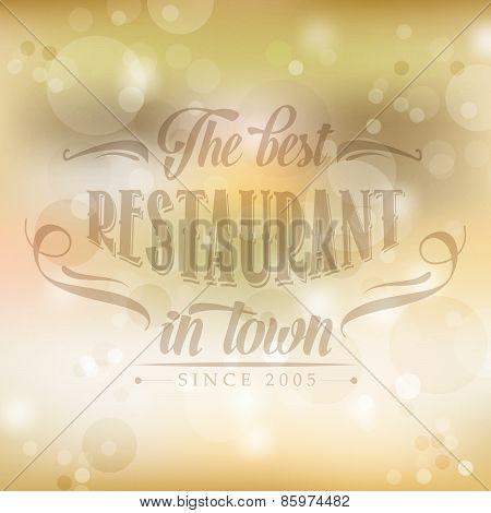 Retro Restaurant Poster On Yellow Blurred Background
