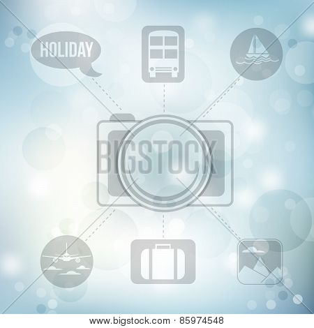Set Of Flat Design Concept Icons For Holiday And Travel On Blurred Blue Background