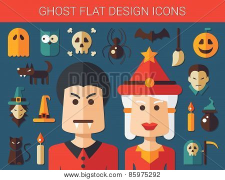 Set of flat design ghost icons