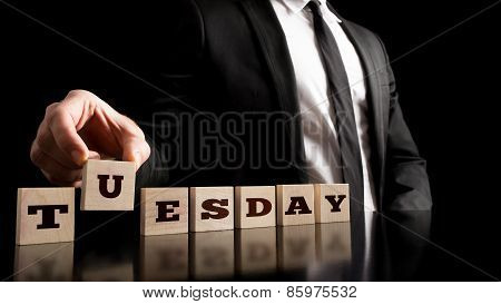 Working Day - Businessman Arranging Small Wooden Blocks With Word Tuesday