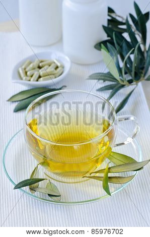 Olive Leaf Herbal Tea  And Olive Leaf Extract Capsules . Dietary Supplements.