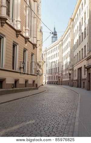 Empty narrow street in the old center of Riga