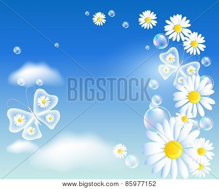 Butterflies And Daisy In The Sky