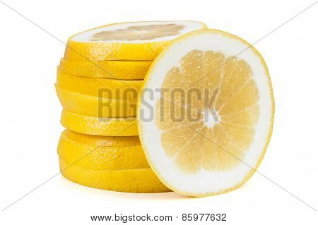 Grapefruit Slices On White Background
