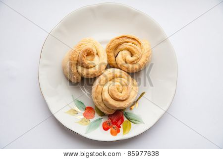 Plate Of Short Bread Cookies With Pecans