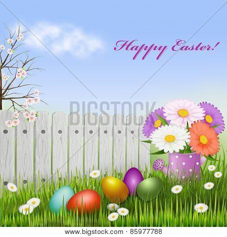 Easter Card, Eggs Grass Flowers