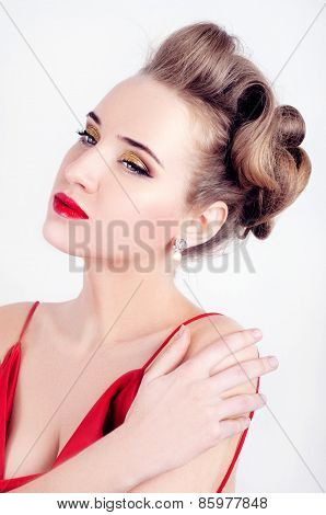 Beautiful Sexy Woman In Red Satin Dress And Red Lips