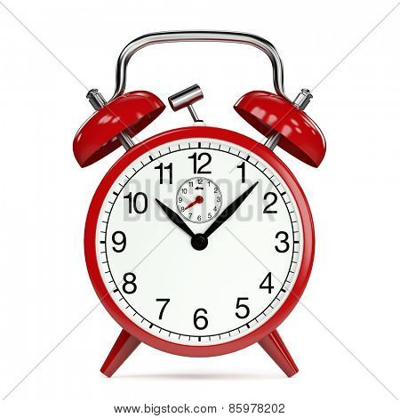 Time on a red vintage alarm clock (3D Rendering)