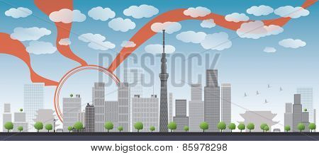 Tokyo skyline with skyscrapers and sun Vector illustration