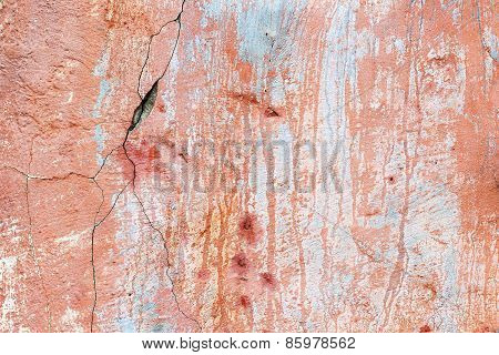 Abstract Background Concrete Painted Pink Paint, Weathered With Cracks And Scratches. Landscape Styl