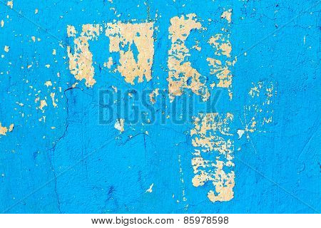 Abstract Background Concrete Painted Blue Paint, Weathered With Cracks And Scratches. Landscape Styl