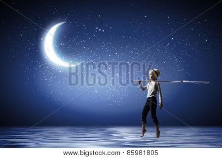 Cute girl in night sky with fishing rod