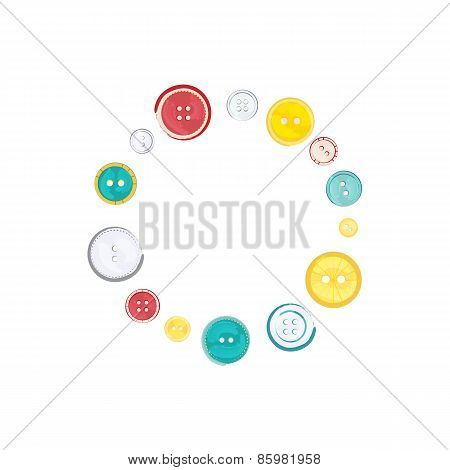 Decorative Circle Of Sewing Buttons Over White