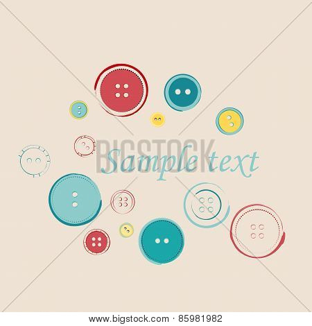 Decorative Group Of Sewing Buttons With Sample Text