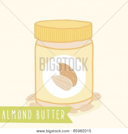 Almond butter in jar.